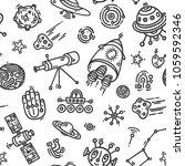 cosmic doodle seamless vector... | Shutterstock .eps vector #1059592346