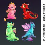Cartoon Colorful Funny Dragons...