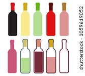 set of colorful wine bottles on ... | Shutterstock .eps vector #1059619052
