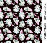hibiscus pattern. watercolor... | Shutterstock . vector #1059620612