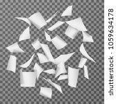 flying paper document sheets.... | Shutterstock .eps vector #1059634178