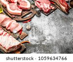 different types of raw pork... | Shutterstock . vector #1059634766
