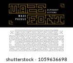 vector of maze puzzle alphabet... | Shutterstock .eps vector #1059636698