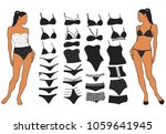 set of woman lingerie different ... | Shutterstock .eps vector #1059641945