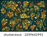 colorful vector hand drawn... | Shutterstock .eps vector #1059642992