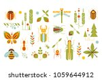 wild plants and insects set ... | Shutterstock .eps vector #1059644912