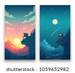 day and night flat vector... | Shutterstock .eps vector #1059652982