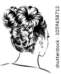 woman with up messy buns | Shutterstock .eps vector #1059658712