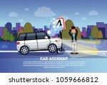 man driver standing at broken...   Shutterstock .eps vector #1059666812
