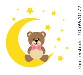 cartoon cute bear with tie... | Shutterstock .eps vector #1059670172