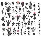 hand drawn wild cactus flowers  ... | Shutterstock .eps vector #1059676856