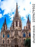 facade of cathedral in barcelona | Shutterstock . vector #1059679502