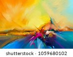 colorful oil painting on canvas ... | Shutterstock . vector #1059680102