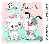 cute cartoon cat and dog on a... | Shutterstock .eps vector #1059684245