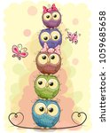 five cute owls on a yellow... | Shutterstock .eps vector #1059685658