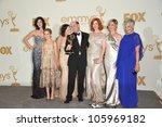 Small photo of LOS ANGELES, CA - SEPTEMBER 18, 2011: Mad Men creator Matthew Weiner with Jessica Pare, Kiernan Shipka, Elisabeth Moss, Christina Hendricks, Cara Buono & Randee Heller at the 2011 Emmy Awards