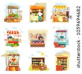 street vendor booth and farm... | Shutterstock .eps vector #1059694682