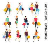 people shopping with shop bags... | Shutterstock .eps vector #1059694685
