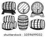 wooden barrels different... | Shutterstock .eps vector #1059699032