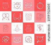 love line icons set. happy... | Shutterstock .eps vector #1059702605