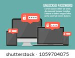 set of devices with unlocked... | Shutterstock .eps vector #1059704075
