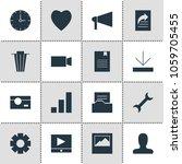 illustration of 16 web icons....