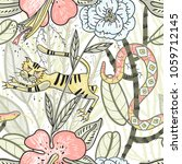 vector floral seamless pattern...   Shutterstock .eps vector #1059712145