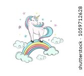 unicorn on a rainbow in the... | Shutterstock .eps vector #1059712628