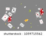 playing cards and chips falling ... | Shutterstock .eps vector #1059715562