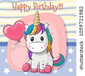 greeting card cute cartoon... | Shutterstock .eps vector #1059721982