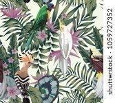 tropical birds parrot hoopoe ... | Shutterstock .eps vector #1059727352
