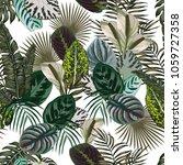 jungle pattern leaves flowers... | Shutterstock .eps vector #1059727358