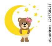 cartoon cute bear girl with bow ... | Shutterstock .eps vector #1059728288