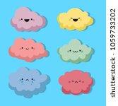 happy cartoon clouds with...   Shutterstock .eps vector #1059733202