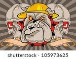 ribbon and bulldog skull | Shutterstock .eps vector #105973625