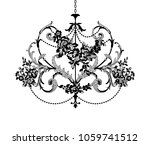 silhouette vintage lace crystal ... | Shutterstock .eps vector #1059741512