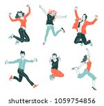 jumping people isolated on... | Shutterstock .eps vector #1059754856
