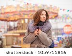 portrait of a young brunette... | Shutterstock . vector #1059755816