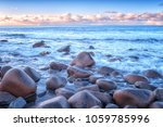 atlantic shore with waves and... | Shutterstock . vector #1059785996
