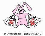 crazy rabbit holds shopping bag ... | Shutterstock .eps vector #1059791642