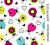 seamless ladybug pattern vector ... | Shutterstock .eps vector #1059797372