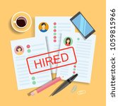 resume of hired people lying on ... | Shutterstock .eps vector #1059815966