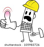 accident,assurance,builder,building,business,cartoon,character,clumsy,construction,crutch,damage,danger,doodle,drawing,employee