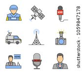 mass media color icons set.... | Shutterstock .eps vector #1059847178
