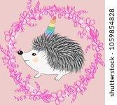 a cute cartoon hedgehog with a... | Shutterstock .eps vector #1059854828