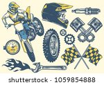 Set Of Motocross Objects In...