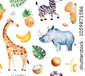 africa watercolor seamless... | Shutterstock . vector #1059871586