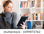 young student using e book and... | Shutterstock . vector #1059872762