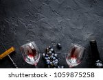 bottle of red wine with glasses ...   Shutterstock . vector #1059875258