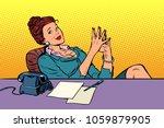 businesswoman boss sitting at... | Shutterstock .eps vector #1059879905